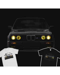 BMW E30 Yellow Headlights T-Shirt Mpower Bimmer