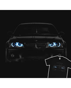 BMW E46 T-Shirt Blue Angel Eyes Headlights Glow