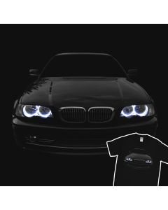 T-Shirt BMW E46 Facelift Blue Angel Eyes Headlights Glow