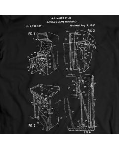 Arcade Cabinet Vintage Video Games Patent T-Shirt Tee Holiday Gift Birthday Present