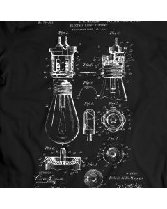 Electric-light Fixture Bulb Patent T-shirt Mens Gift Idea 100% Cotton Birthday Present