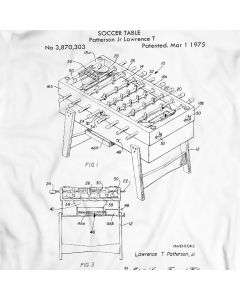 1975 Foosball Table Patent Soccer T-Shirt 100% Cotton Holiday Gift Birthday Present