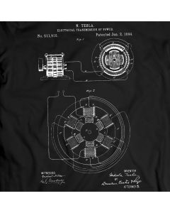 Tesla Electricial Transmission Patent T-Shirt 100% Cotton Holiday Gift Birthday Present