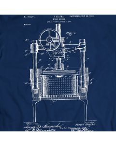 Wine Press Machine Patent T-Shirt 100% Cotton Holiday Gift Birthday Present