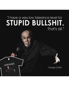 Low Tolerance Level T-Shirt George Carlin Comediant Mens Gift Idea