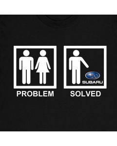 Subaru Problem Solved Funny T-Shirt Mens Gift Idea 100% Cotton Holiday Gift Birthday Present
