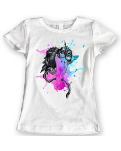 Watercolor Rainbow Crow T-shirt 100% Cotton Ladies Gift Idea