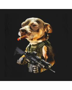 Army Pitbull Cigar Badass T-Shirt Mens Gift Idea Military Dog Warfare 100% Cotton