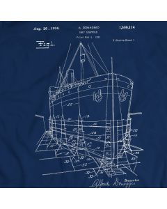 1924 Ship Model Scaffold Patent T-Shirt Mens Gift Idea 100% Cotton