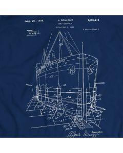 1924 Ship Model Scaffold Patent T-Shirt Mens Gift Idea 100% Cotton