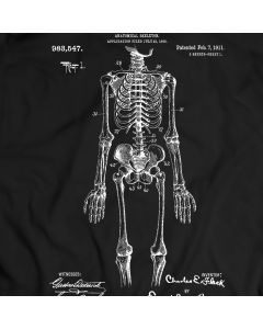 Anatomical Skeleton Patent T-Shirt Mens Gift Idea 100% Cotton Holiday Gift Birthday