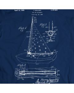 Beaudry Sail Boat 1940 Patent T-Shirt 100% Cotton