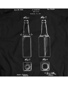 Beer Bottle Patent T-Shirt Mens Gift Idea Bottle Spirits Tee