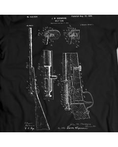 Bolt Gun Firearm Patent T-Shirt Mens Gift Idea 100% Cotton Weapon Browning Tee