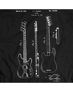 Clarence Fender Precision Bass Guitar Patent T-shirt Mens Gift Idea 100% Cotton