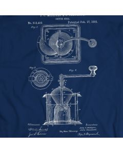 Coffee Grinder Burr Mechanical Mill Vintage Patent T-shirt Mens Gift Idea 100% Cotton