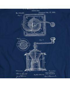 Coffee Grinder Burr Mechanical Mill Vintage Patent T-shirt Mens Gift Idea 100% Cotton