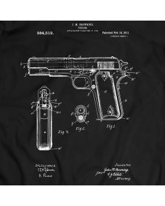COLT 1911 PISTOL Patent T-Shirt Mens Gift Idea Weapon Tee