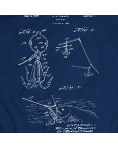 Gaff Fishing Vintage Fish Hook Spear Harpoon Grabber Patent T-shirt Mens Gift Idea 100% Cotton Birthday Present