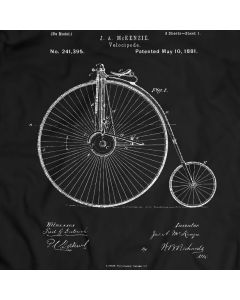 Old Style Bicycle Patent 1881 T-Shirt Mens Gift Idea History of the Bike Holiday Gift Birthday Present