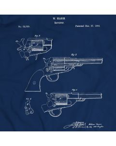 Revolving Fire-Arms Patent T-Shirt Unisex/Mens Gift Idea 100% Cotton William Mason Holiday Christmas Gift Birthday