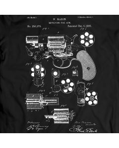 Revolver Patent, Colt Revolver T-Shirt Unisex/Mens Gift Idea 100% Cotton Hand Gun Holiday Gift Birthday Present