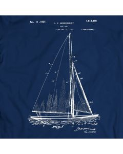 Herreshoff Sailboat Patent 1881 T-Shirt Mens Gift Idea Sailing Tee Holiday Gift Birthday Present