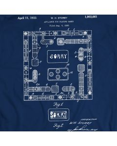 Sorry Board Game Patent T-Shirt Mens Gift Idea 100% Cotton Holiday Gift Birthday Present