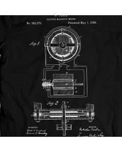 Tesla Electro Motor 1888 T-Shirt 100% Cotton