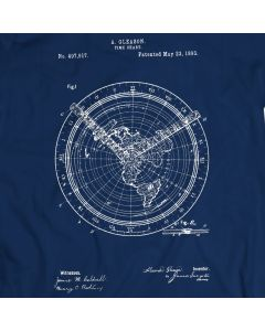 World Time Chart  Vintage Patent 1893 T-Shirt Mens Gift Idea