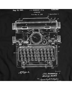 Typewriter 1941 Vintage Antique Patent T-Shirt Mens Gift Idea 100% Cotton Holiday Gift Birthday Present