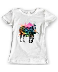 Rainbow Zebra T-Shirts Watercolor design Ladies Gift Idea 100% Cotton