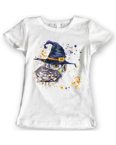 Owl and witch hat T-Shirts Watercolor design Ladies Gift Idea 100% Cotton S to XL