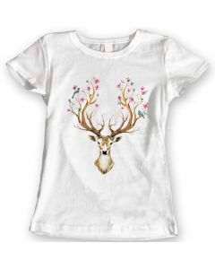 Deer Flowers and Birds on the Horns T-Shirts