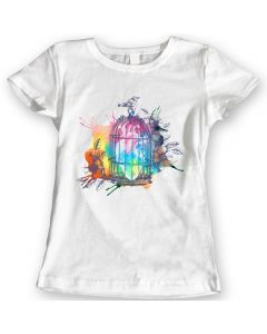 Heart Cage T-Shirts Watercolor Vintage Bird Ladies Gift Idea 100% Cotton