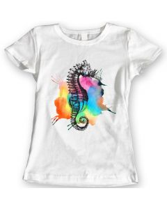 Rainbow Seahorse T-Shirts Watercolor Ladies Gift Idea 100% Cotton