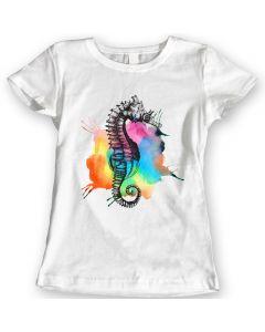 Rainbow Seahorse T-Shirts Watercolor Ladies Gift Idea 100% Cotton